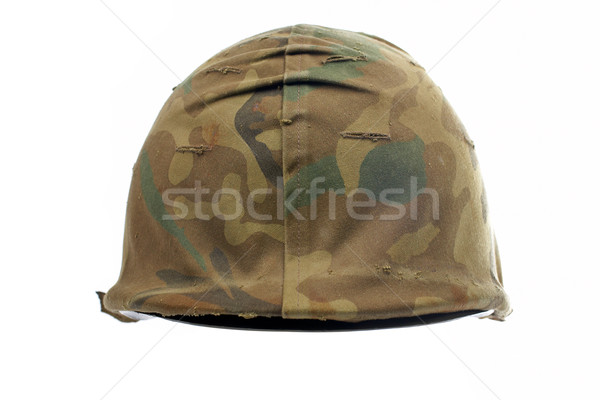 Militärischen Helm Tarnung weiß seicht Stock foto © broker