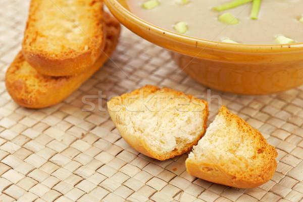 Crema setas sopa pan superficial cena Foto stock © broker