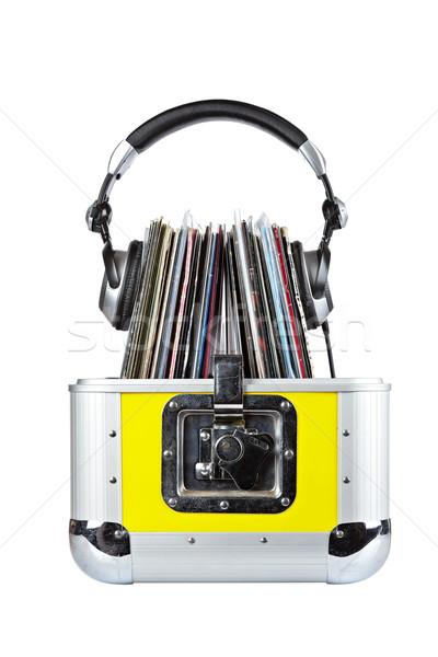 Dídzsé doboz fejhallgató öreg izolált fehér Stock fotó © broker