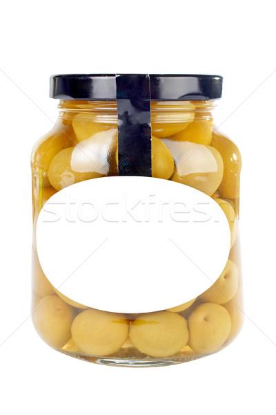 Zdjęcia stock: Szkła · jar · oliwek · zachowane · etykiety · żywności