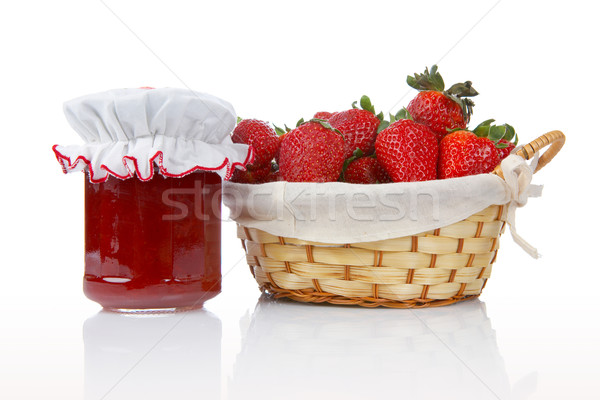 Jam банку корзины клубники продовольствие красный Сток-фото © broker