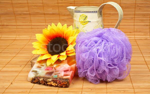 Bagno accessori prodotti di bellezza bambù acqua salute Foto d'archivio © broker