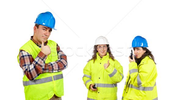 Costruzione lavoratori tre bianco focus fronte Foto d'archivio © broker