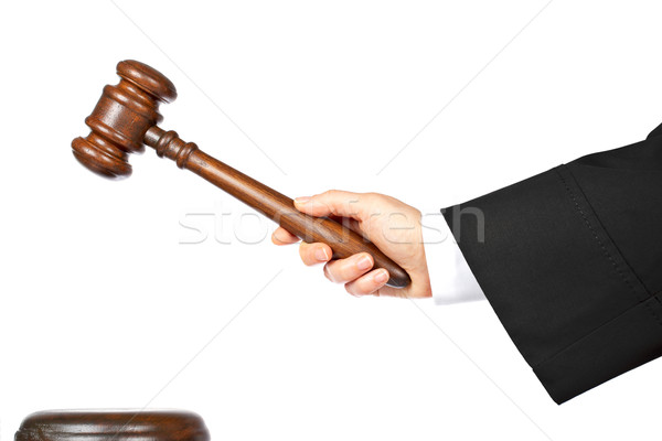 судья объявлять вердикт женщину изолированный белый Сток-фото © broker