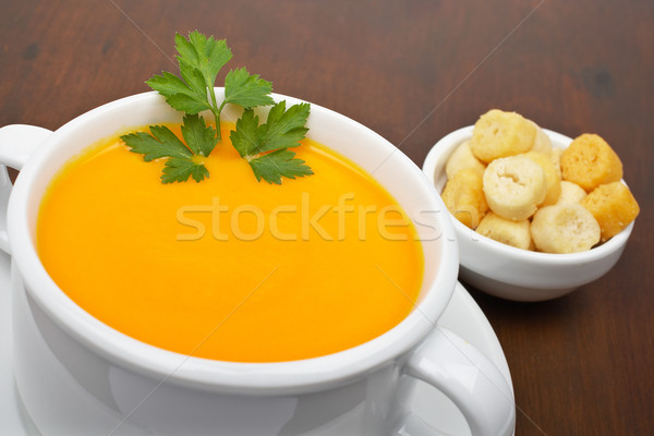 Carrots puree and bread croutons Stock photo © broker