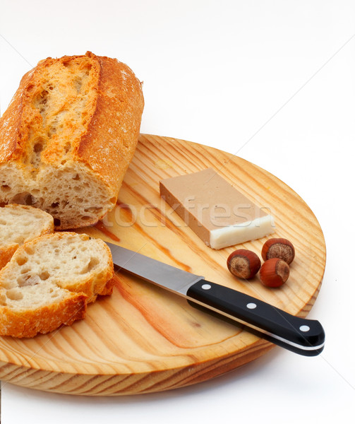 Stock photo: Pate, bread, hazelnuts and knife on wood plate