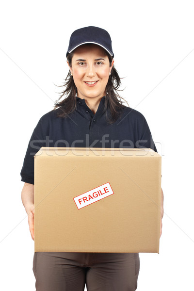 Paquet fragile courrier femme blanche fille Photo stock © broker