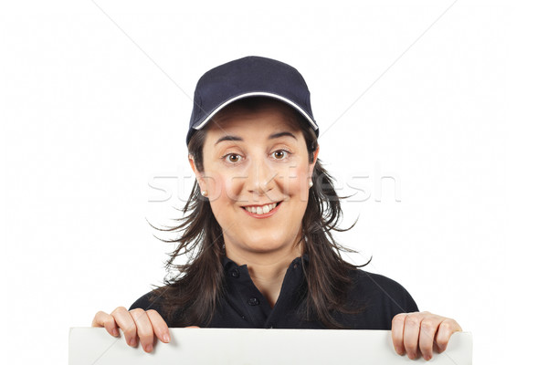 любопытный курьер женщину пустую карту белый Сток-фото © broker