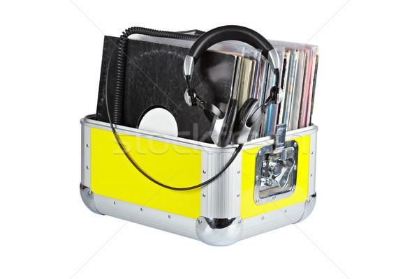 Dídzsé doboz fejhallgató izolált fehér sekély Stock fotó © broker