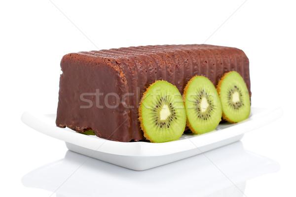 Cake with kiwi on a dish Stock photo © broker