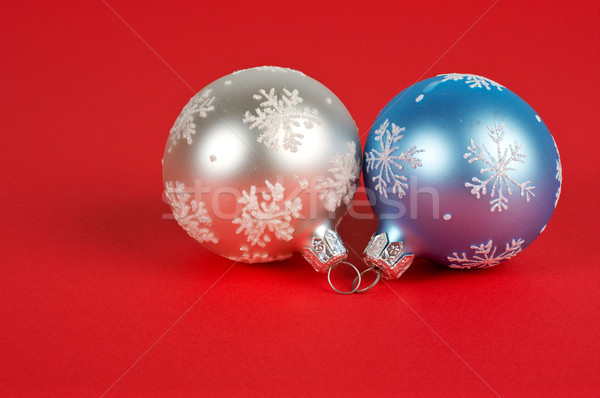 One white and blue Christmas ball Stock photo © broker