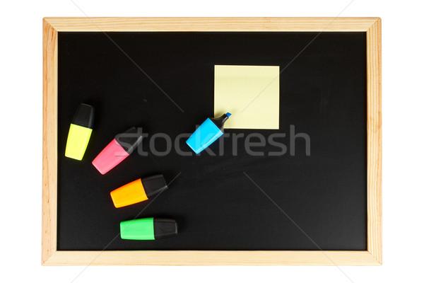 Zdjęcia stock: Tablica · pusty · czarny · żółty · Uwaga · ścieżka