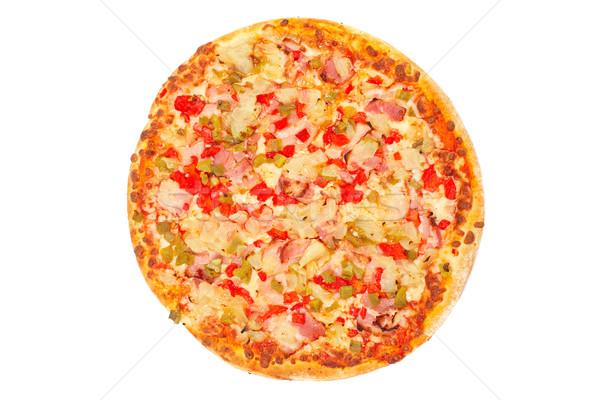 Foto d'archivio: Gustoso · pizza · italiana · isolato · bianco · ristorante