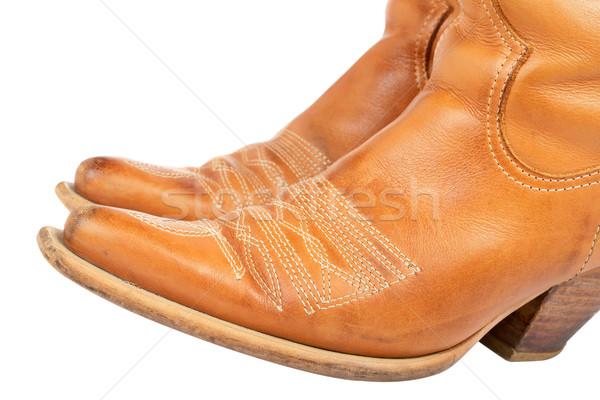 Botas de vaqueiros par usado isolado branco raso Foto stock © broker