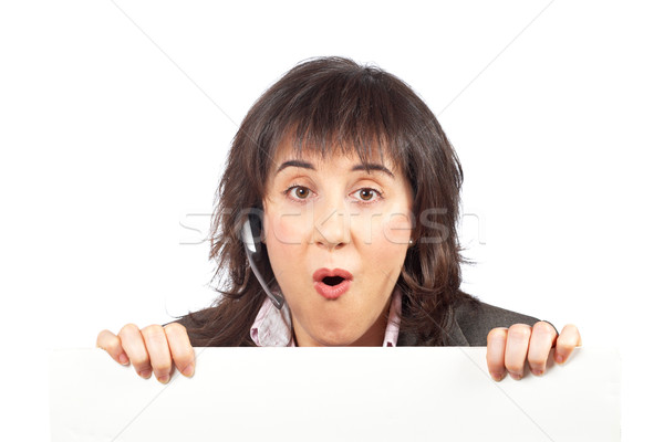 Surpreendido menina atrás negócio mãos Foto stock © broker