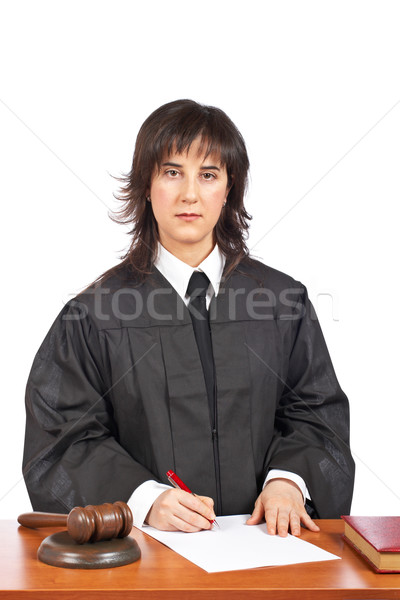 Female judge sign to blank court order Stock photo © broker