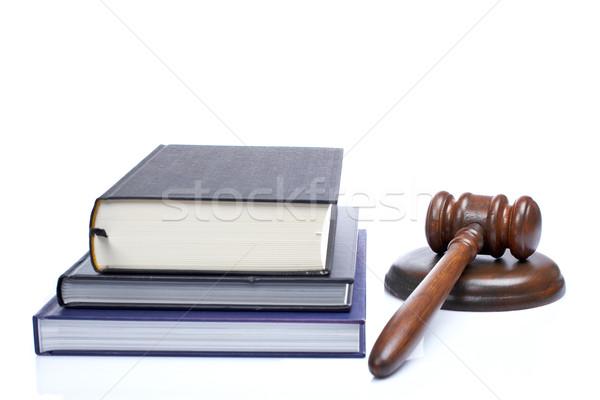 Fából készült kalapács törvény könyvek bíróság fehér Stock fotó © broker
