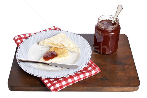 Nyami reggeli pirítós vaj eper lekvár Stock fotó © broker