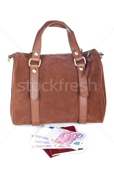 Torebka dwa ceny brązowy odizolowany biały Zdjęcia stock © broker