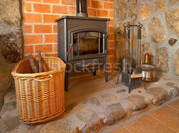 Fireplace and tools Stock photo © broker