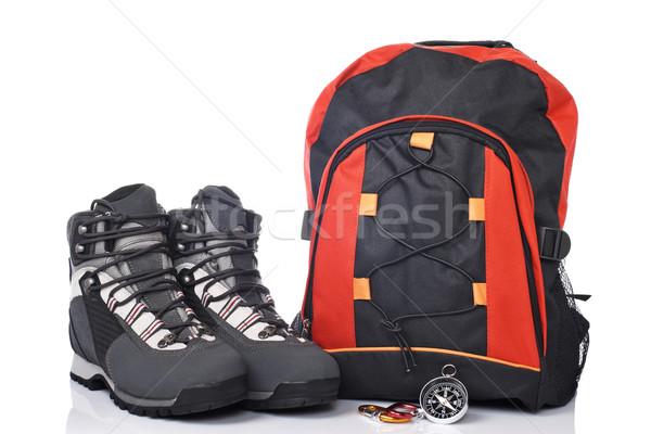 Montanha aventura caminhadas botas bússola Foto stock © broker