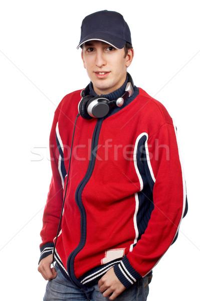 Knap disc jockey hoofdtelefoon witte hand man Stockfoto © broker