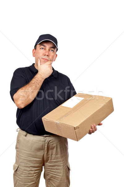 Kurier Denken Paket weiß Arbeit Feld Stock foto © broker