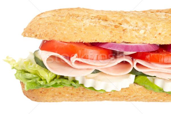 Foto stock: Baguette · sándwich · jamón · cebolla · lechuga · tomates