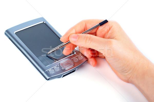Dolgozik pda üzletasszony szervező számítógép toll Stock fotó © broker