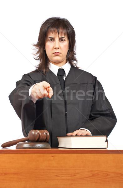 怒っ 女性 裁判官 ポインティング 法廷 フォーカス ストックフォト © broker