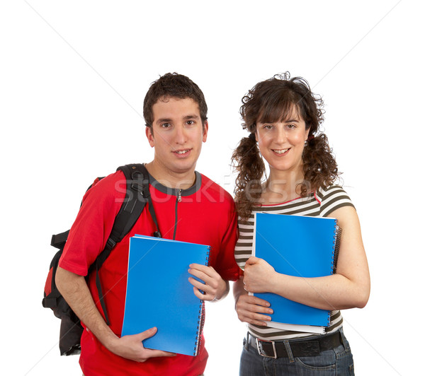 Two students with books and backpacks Stock photo © broker
