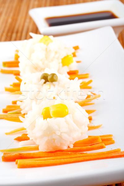 Salata pirinç sos bambu gıda turuncu Stok fotoğraf © broker