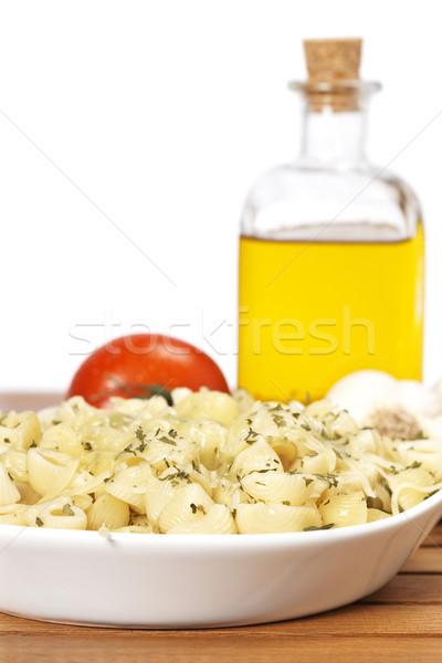 Gekookt plaat pasta vers tomatensaus eten Stockfoto © broker