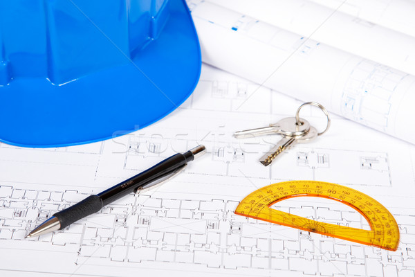 Blueprints dessin outils construction plans Photo stock © broker