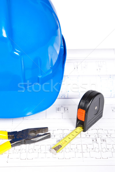 Stockfoto: Blauwdrukken · tools · bouw · plannen · ondiep