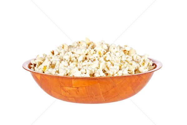 Stockfoto: Popcorn · kom · geïsoleerd · witte · leuk · mais