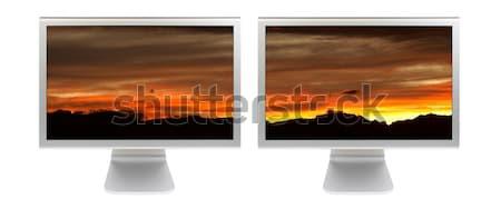 Nubes panel LCD supervisar hermosa cielo azul Foto stock © broker