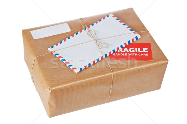 Fragile paquet papier brun rêche Photo stock © broker