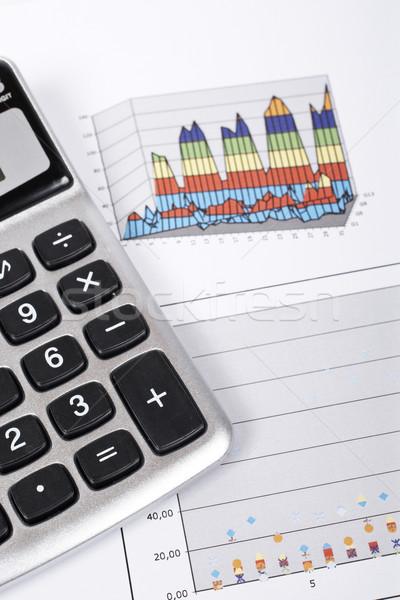 Calculadora lápis ganhos traçar raso negócio Foto stock © broker