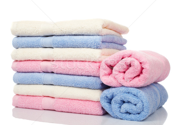 Stock photo: Multicolored towels stacked