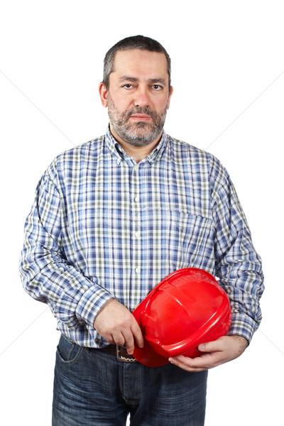 építőmunkás izolált fehér ház férfi munka Stock fotó © broker