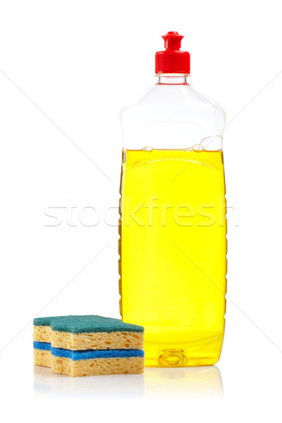 Bottle of dish washing and sponges Stock photo © broker