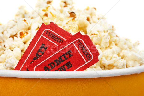 Detail tickets popcorn emmer twee witte Stockfoto © broker