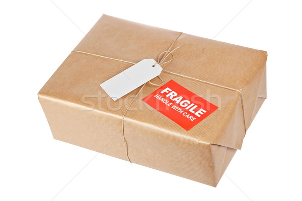 Fragile Paket Paket Packpapier rau Schnur Stock foto © broker