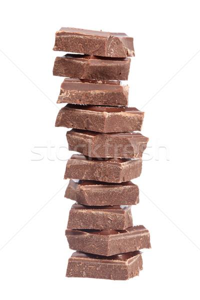 Bloków czekolady odizolowany biały płytki żywności Zdjęcia stock © broker