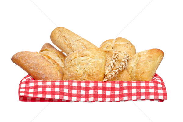 Crusty bread buns into the basket Stock photo © broker