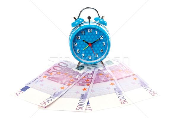 Sveglia fan soldi blu clock finanziare Foto d'archivio © broker