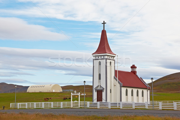 Lutheran church in Kopasker, Iceland Stock photo © broker