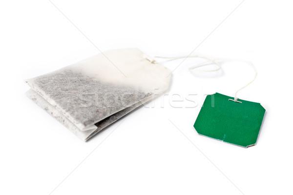 Tea bag with green label Stock photo © broker