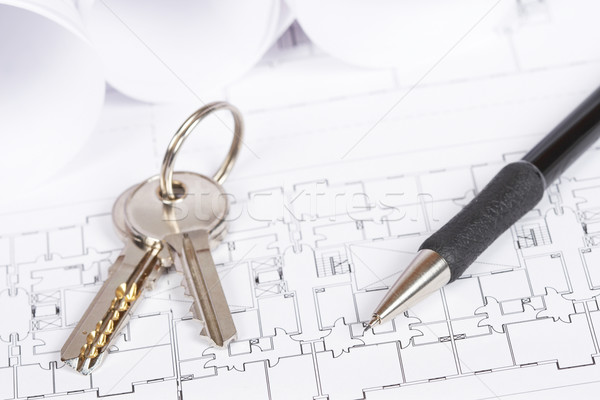 Stockfoto: Blauwdrukken · sleutels · bouw · plannen · twee · tekening